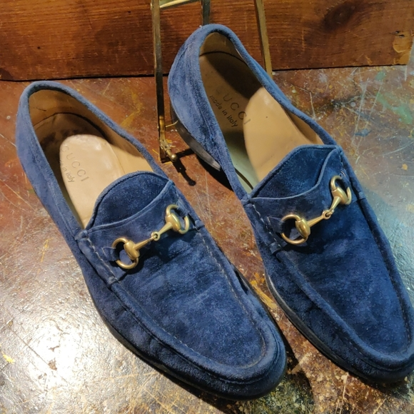 Gucci Shoes | Mens Blue Suede Loafers